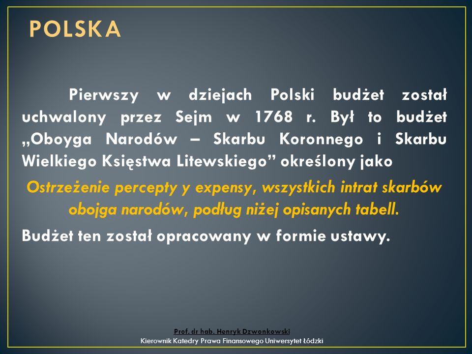 Pierwszy w dziejach Polski budżet został uchwalony przez Sejm w 1768 r.