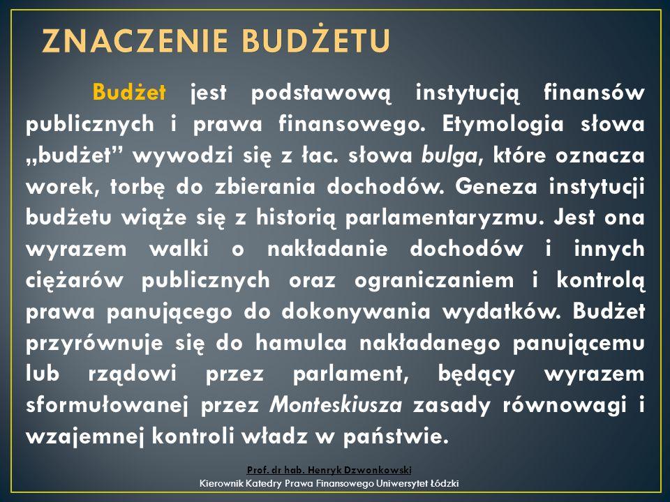 Budżet jest podstawową instytucją finansów publicznych i prawa finansowego.