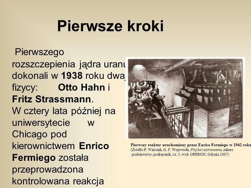 Pierwsze kroki Pierwszego rozszczepienia jądra uranu dokonali w 1938 roku dwaj fizycy: Otto Hahn i Fritz Strassmann.