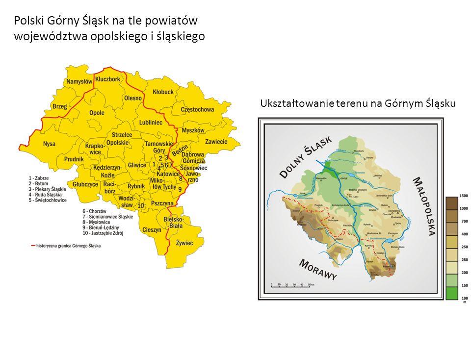 Polski Górny Śląsk na tle powiatów województwa opolskiego i śląskiego Ukształtowanie terenu na Górnym Śląsku