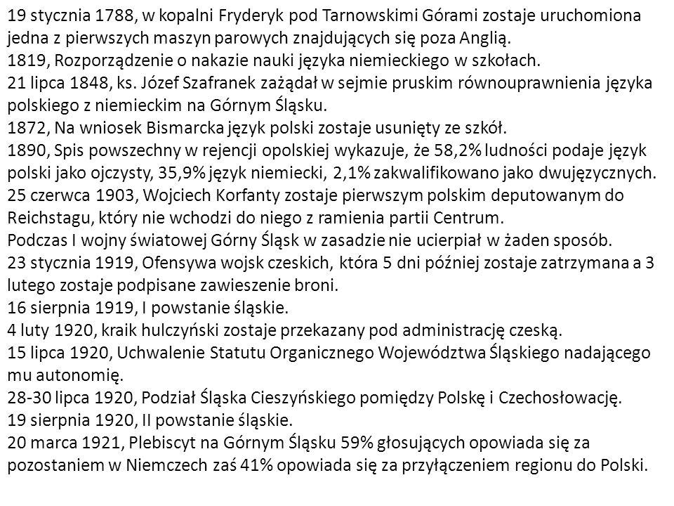19 stycznia 1788, w kopalni Fryderyk pod Tarnowskimi Górami zostaje uruchomiona jedna z pierwszych maszyn parowych znajdujących się poza Anglią.