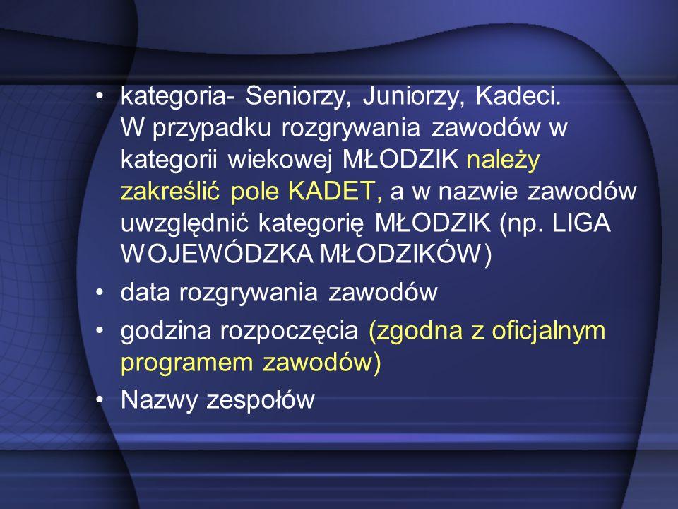 kategoria- Seniorzy, Juniorzy, Kadeci.