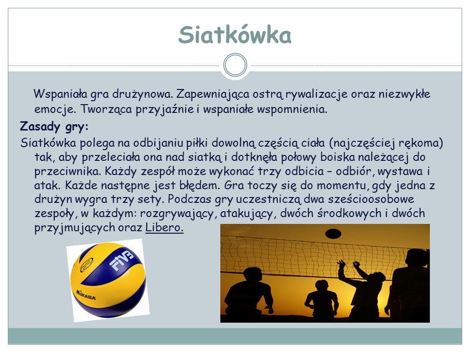 Siatkówka Wspaniała gra drużynowa. Zapewniająca ostrą rywalizacje oraz niezwykłe emocje.