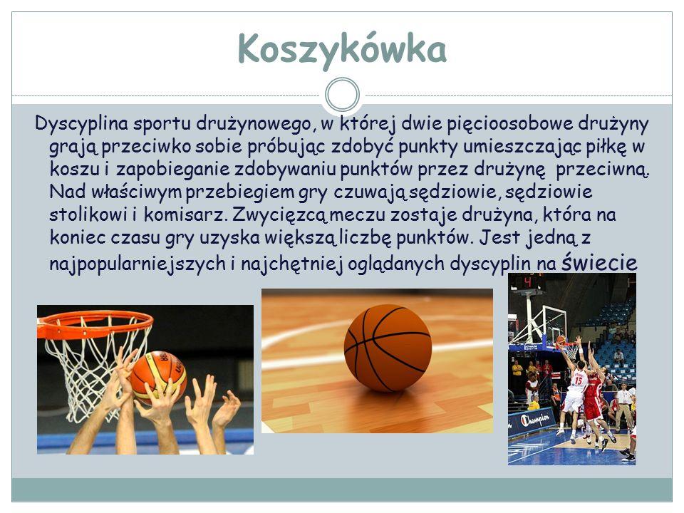 Koszykówka Dyscyplina sportu drużynowego, w której dwie pięcioosobowe drużyny grają przeciwko sobie próbując zdobyć punkty umieszczając piłkę w koszu i zapobieganie zdobywaniu punktów przez drużynę przeciwną.