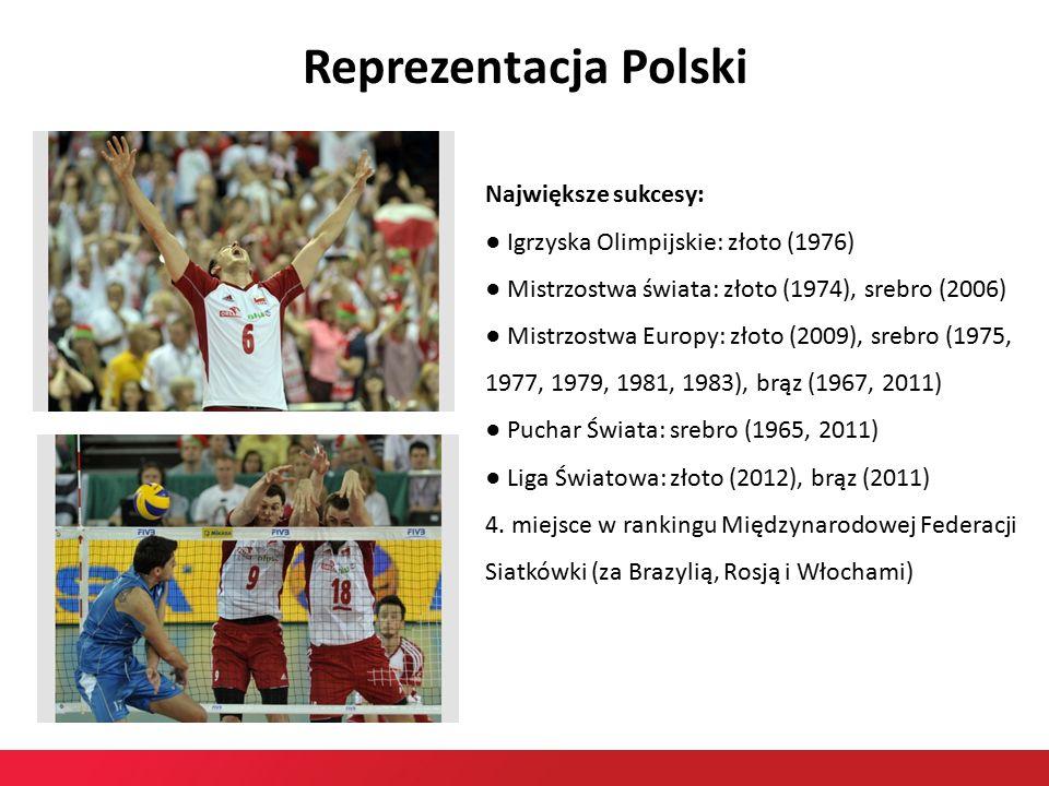 Reprezentacja Polski Największe sukcesy: ● Igrzyska Olimpijskie: złoto (1976) ● Mistrzostwa świata: złoto (1974), srebro (2006) ● Mistrzostwa Europy: złoto (2009), srebro (1975, 1977, 1979, 1981, 1983), brąz (1967, 2011) ● Puchar Świata: srebro (1965, 2011) ● Liga Światowa: złoto (2012), brąz (2011) 4.