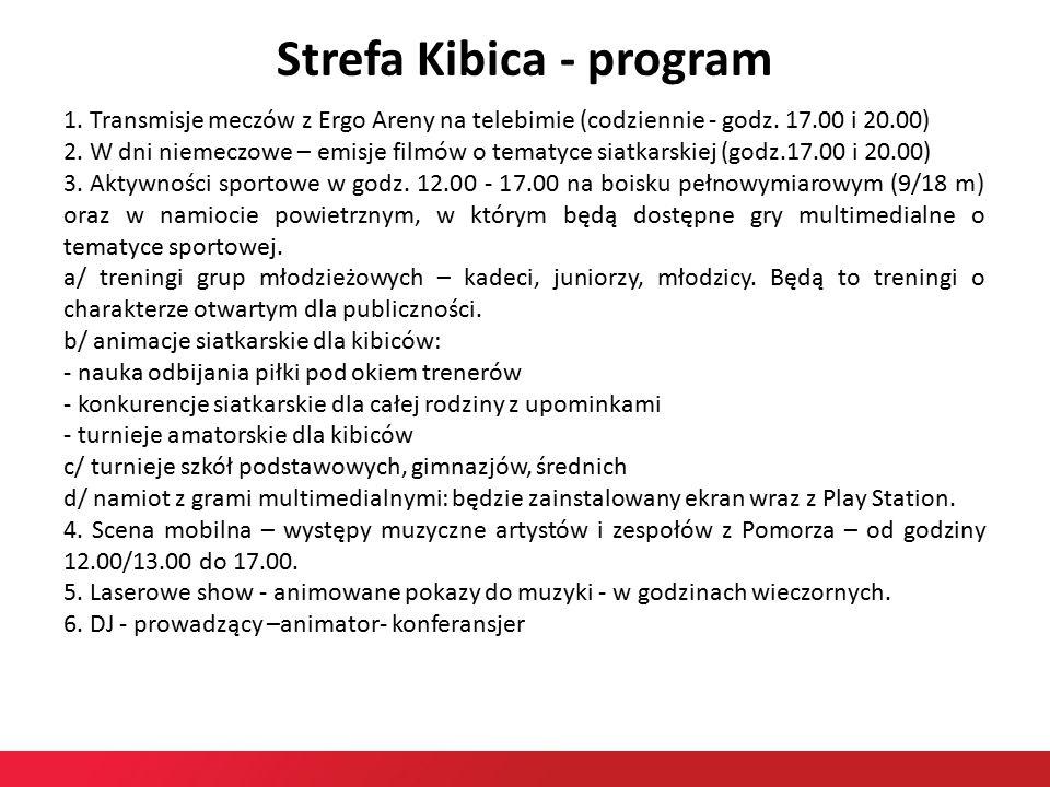 Strefa Kibica - program 1. Transmisje meczów z Ergo Areny na telebimie (codziennie - godz.