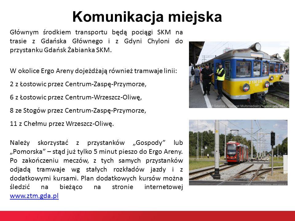 Komunikacja miejska Głównym środkiem transportu będą pociągi SKM na trasie z Gdańska Głównego i z Gdyni Chyloni do przystanku Gdańsk Żabianka SKM.
