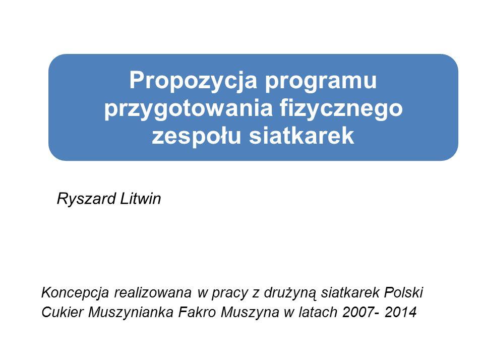 Propozycja programu przygotowania fizycznego zespołu siatkarek Ryszard Litwin Koncepcja realizowana w pracy z drużyną siatkarek Polski Cukier Muszynianka Fakro Muszyna w latach 2007- 2014