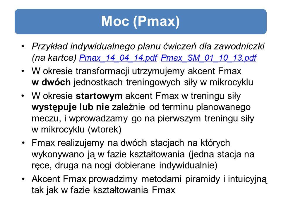 Moc (Pmax) Przykład indywidualnego planu ćwiczeń dla zawodniczki (na kartce) Pmax_14_04_14.pdf Pmax_SM_01_10_13.pdf Pmax_14_04_14.pdfPmax_SM_01_10_13.pdf W okresie transformacji utrzymujemy akcent Fmax w dwóch jednostkach treningowych siły w mikrocyklu W okresie startowym akcent Fmax w treningu siły występuje lub nie zależnie od terminu planowanego meczu, i wprowadzamy go na pierwszym treningu siły w mikrocyklu (wtorek) Fmax realizujemy na dwóch stacjach na których wykonywano ją w fazie kształtowania (jedna stacja na ręce, druga na nogi dobierane indywidualnie) Akcent Fmax prowadzimy metodami piramidy i intuicyjną tak jak w fazie kształtowania Fmax