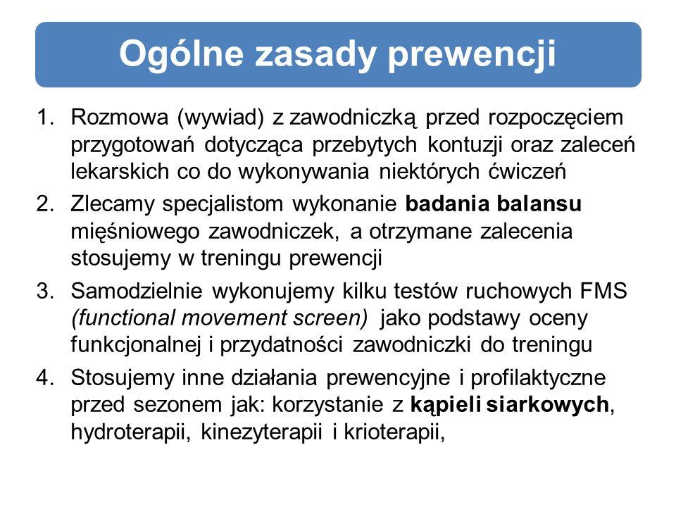 Ogólne zasady prewencji 1.Rozmowa (wywiad) z zawodniczką przed rozpoczęciem przygotowań dotycząca przebytych kontuzji oraz zaleceń lekarskich co do wykonywania niektórych ćwiczeń 2.Zlecamy specjalistom wykonanie badania balansu mięśniowego zawodniczek, a otrzymane zalecenia stosujemy w treningu prewencji 3.Samodzielnie wykonujemy kilku testów ruchowych FMS (functional movement screen) jako podstawy oceny funkcjonalnej i przydatności zawodniczki do treningu 4.Stosujemy inne działania prewencyjne i profilaktyczne przed sezonem jak: korzystanie z kąpieli siarkowych, hydroterapii, kinezyterapii i krioterapii,