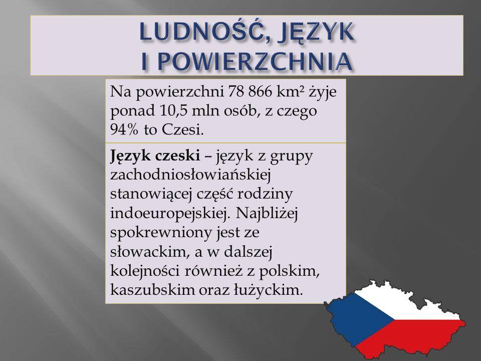 Na powierzchni 78 866 km² żyje ponad 10,5 mln osób, z czego 94% to Czesi.