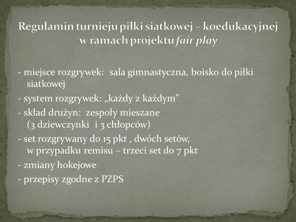 """- miejsce rozgrywek: sala gimnastyczna, boisko do piłki siatkowej - system rozgrywek: """"każdy z każdym - skład drużyn: zespoły mieszane (3 dziewczynki i 3 chłopców) - set rozgrywany do 15 pkt, dwóch setów, w przypadku remisu – trzeci set do 7 pkt - zmiany hokejowe - przepisy zgodne z PZPS"""
