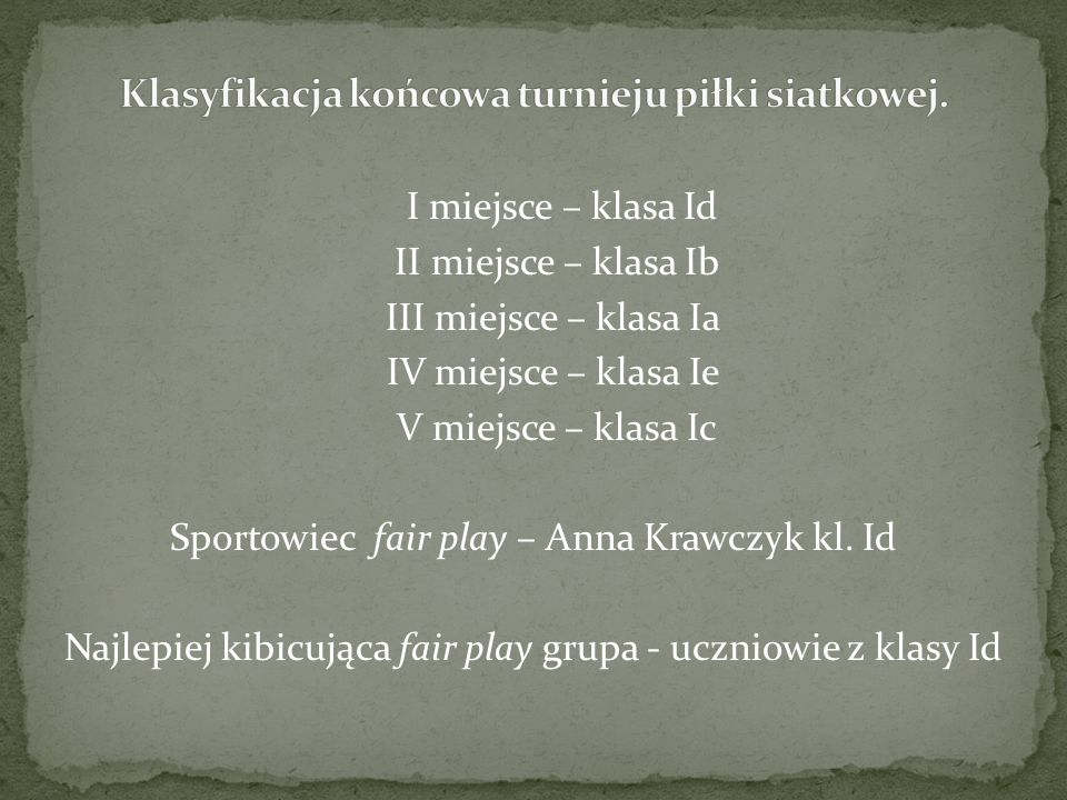 I miejsce – klasa Id II miejsce – klasa Ib III miejsce – klasa Ia IV miejsce – klasa Ie V miejsce – klasa Ic Sportowiec fair play – Anna Krawczyk kl.