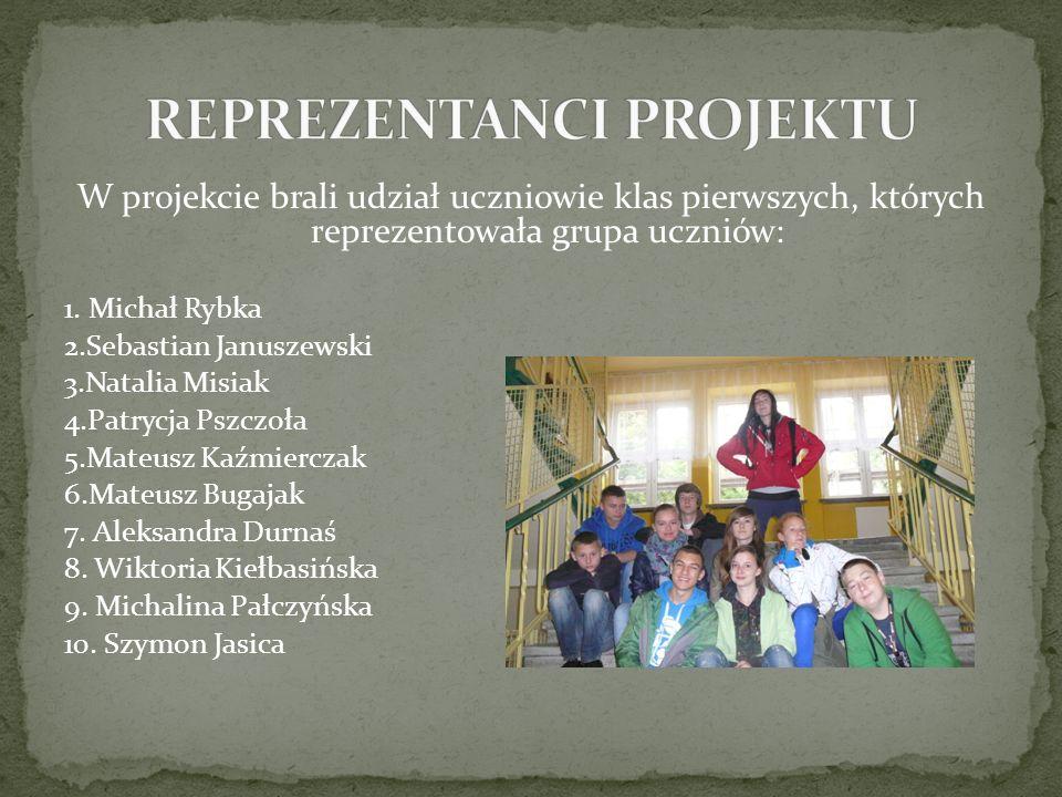 W projekcie brali udział uczniowie klas pierwszych, których reprezentowała grupa uczniów: 1.