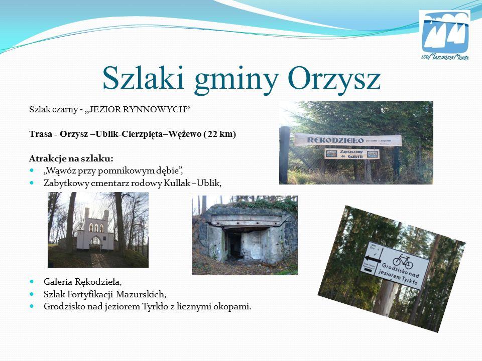 """Pisz – szlak """"Niedźwiedzi Trasa – Pisz-Snopki-Jagodzin - Szeroki Bór-Wejsuny-Pisz (37,3 km) Atrakcje na szlaku: Fortyfikacje piskie, Pomnikowe dęby, Fort Lyck na Czarcim Ostrowiu, Kraniec Puszczy Piskiej."""