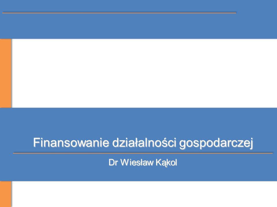 Finansowanie działalności gospodarczej Dr Wiesław Kąkol