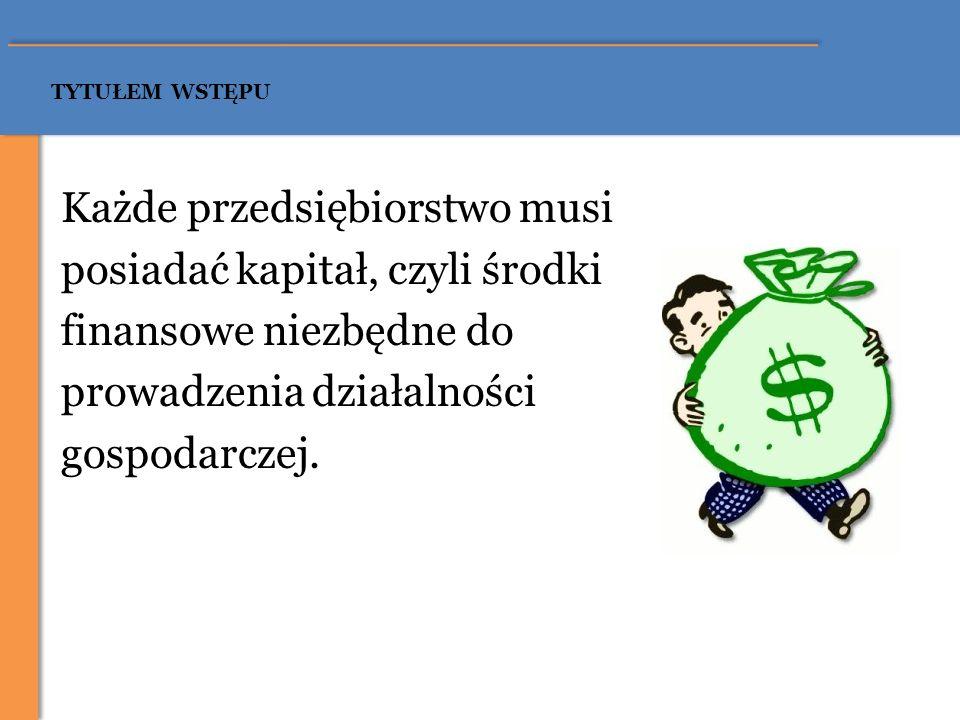 Podstawowe źródła finansowania przedsiębiorstwa Kapitał własny Źródła finansowania przedsiębiorstwa Kapitał obcy dopłaty wspólników zysk zatrzymany sprzedaż zbędnego majątku odpisy amortyzacyjne fundusze wysokiego ryzyka (venture capital) aniołowie biznesu – business angels emisja akcji kredyty bankowe kredyty i pożyczki konsumpcyjne (dla osób fizycznych) leasing pożyczki w funduszach pożyczkowych poręczenia kredytowe formy sprzedaży ratalnej dotacje i subwencje faktoring emisja dłużnych papierów wartościowych franczyza (franchising) optymalizacja zobowiązań podatkowych elastyczne zarządzanie majątkiem obrotowym Inne