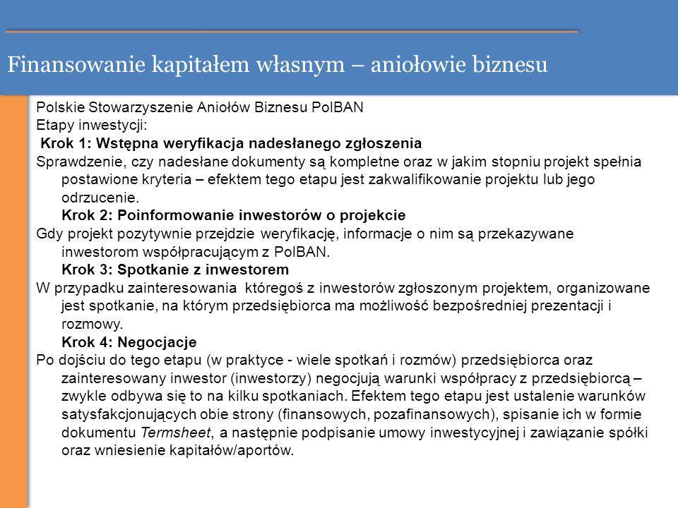 Finansowanie kapitałem własnym – aniołowie biznesu Polskie Stowarzyszenie Aniołów Biznesu PolBAN Etapy inwestycji: Krok 1: Wstępna weryfikacja nadesła