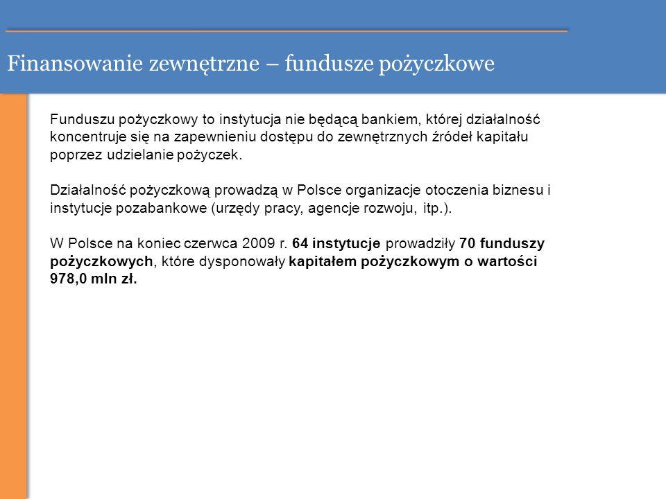Finansowanie zewnętrzne – fundusze pożyczkowe Funduszu pożyczkowy to instytucja nie będącą bankiem, której działalność koncentruje się na zapewnieniu