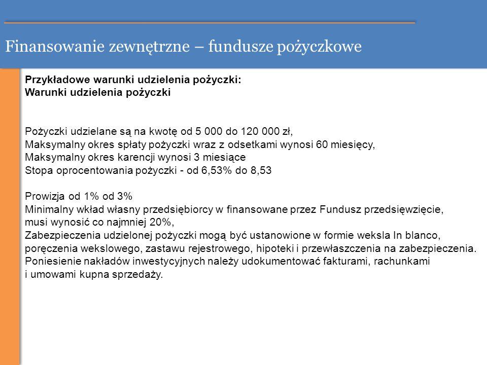 Finansowanie zewnętrzne – fundusze pożyczkowe Przykładowe warunki udzielenia pożyczki: Warunki udzielenia pożyczki Pożyczki udzielane są na kwotę od 5