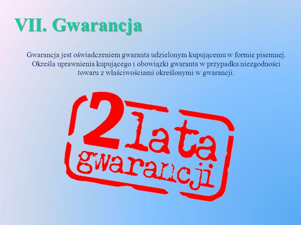 VII. Gwarancja Gwarancja jest oświadczeniem gwaranta udzielonym kupującemu w formie pisemnej.