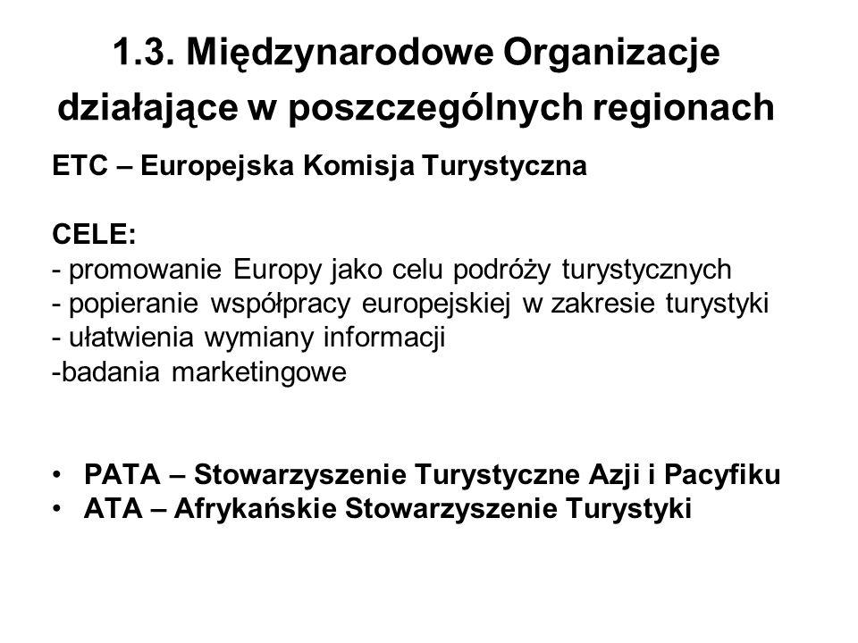 1.3. Międzynarodowe Organizacje działające w poszczególnych regionach ETC – Europejska Komisja Turystyczna CELE: - promowanie Europy jako celu podróży