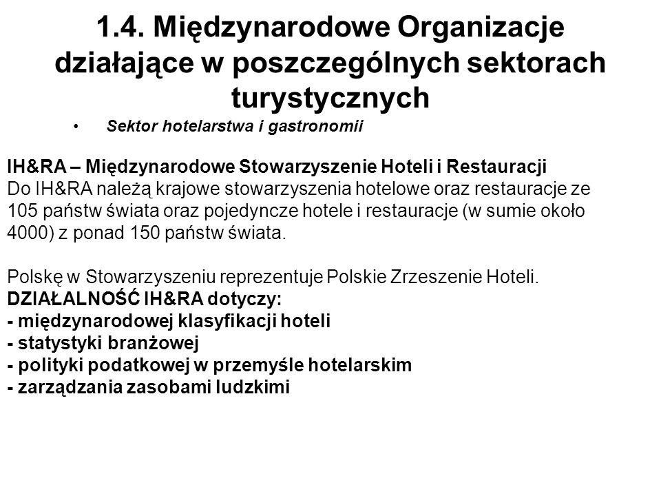1.4. Międzynarodowe Organizacje działające w poszczególnych sektorach turystycznych Sektor hotelarstwa i gastronomii IH&RA – Międzynarodowe Stowarzysz