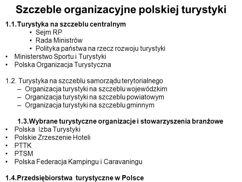 Szczeble organizacyjne polskiej turystyki 1.1.Turystyka na szczeblu centralnym Sejm RP Rada Ministrów Polityka państwa na rzecz rozwoju turystyki Mini