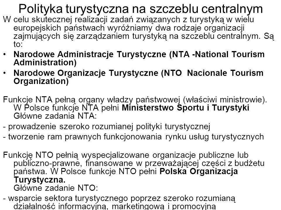 Polityka turystyczna na szczeblu centralnym W celu skutecznej realizacji zadań związanych z turystyką w wielu europejskich państwach wyróżniamy dwa ro