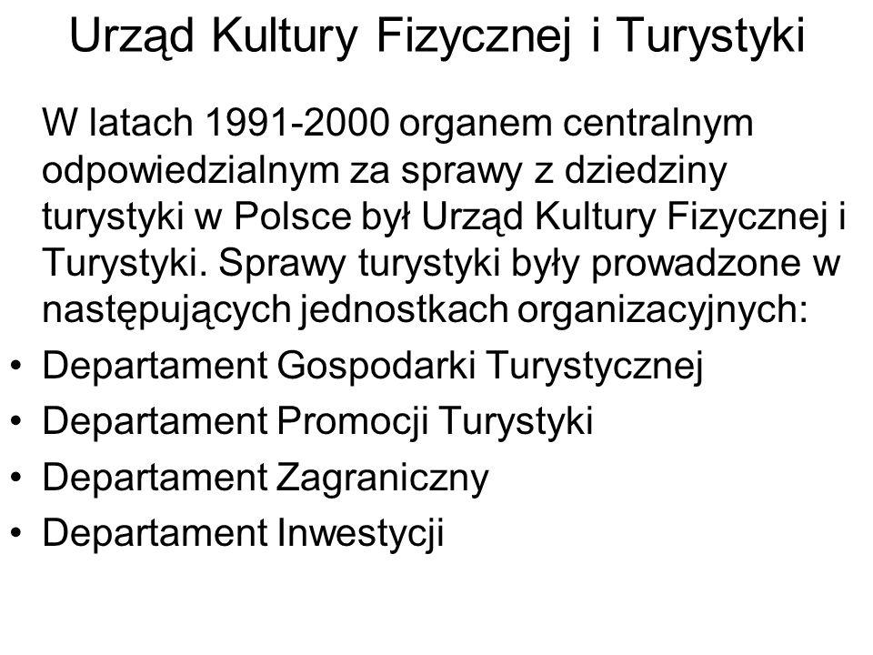 Urząd Kultury Fizycznej i Turystyki W latach 1991-2000 organem centralnym odpowiedzialnym za sprawy z dziedziny turystyki w Polsce był Urząd Kultury F