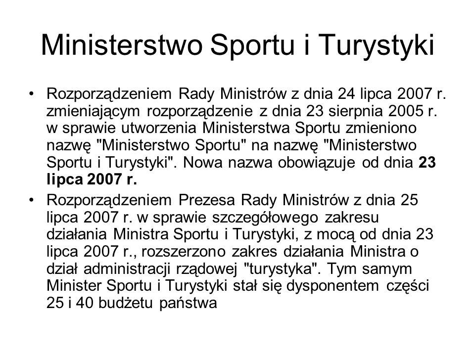 Ministerstwo Sportu i Turystyki Rozporządzeniem Rady Ministrów z dnia 24 lipca 2007 r. zmieniającym rozporządzenie z dnia 23 sierpnia 2005 r. w sprawi