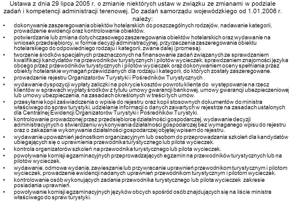 Ustawa z dnia 29 lipca 2005 r. o zmianie niektórych ustaw w związku ze zmianami w podziale zadań i kompetencji administracji terenowej. Do zadań samor