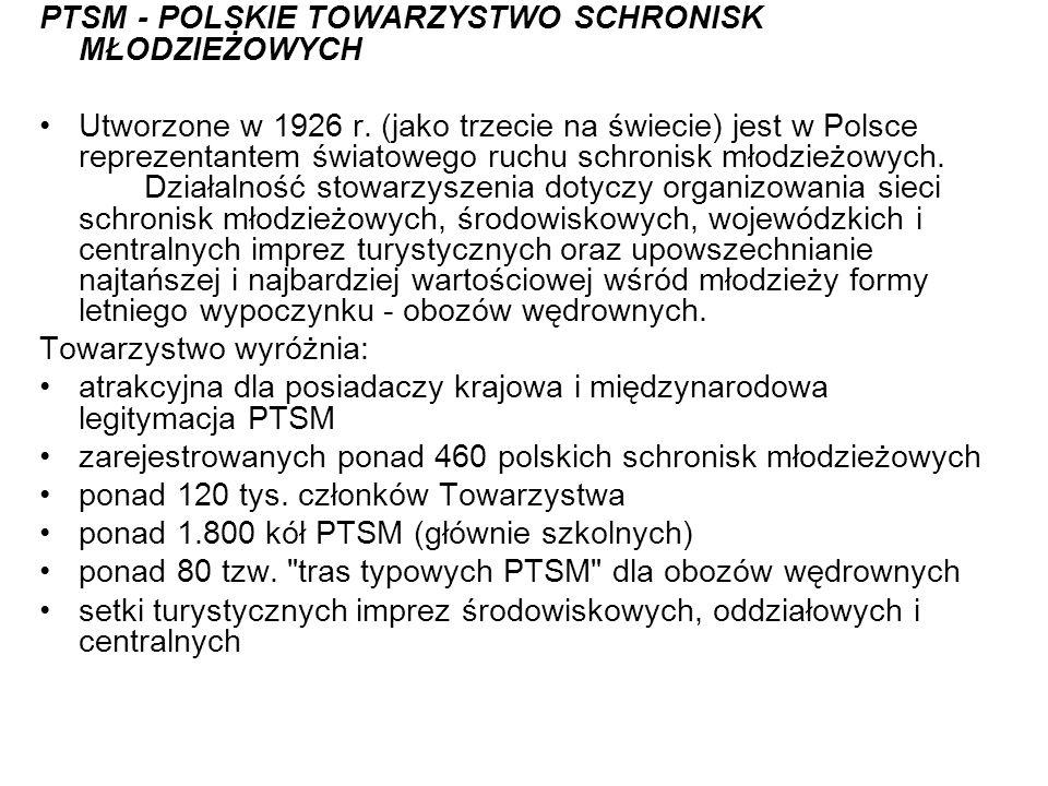PTSM - POLSKIE TOWARZYSTWO SCHRONISK MŁODZIEŻOWYCH Utworzone w 1926 r. (jako trzecie na świecie) jest w Polsce reprezentantem światowego ruchu schroni