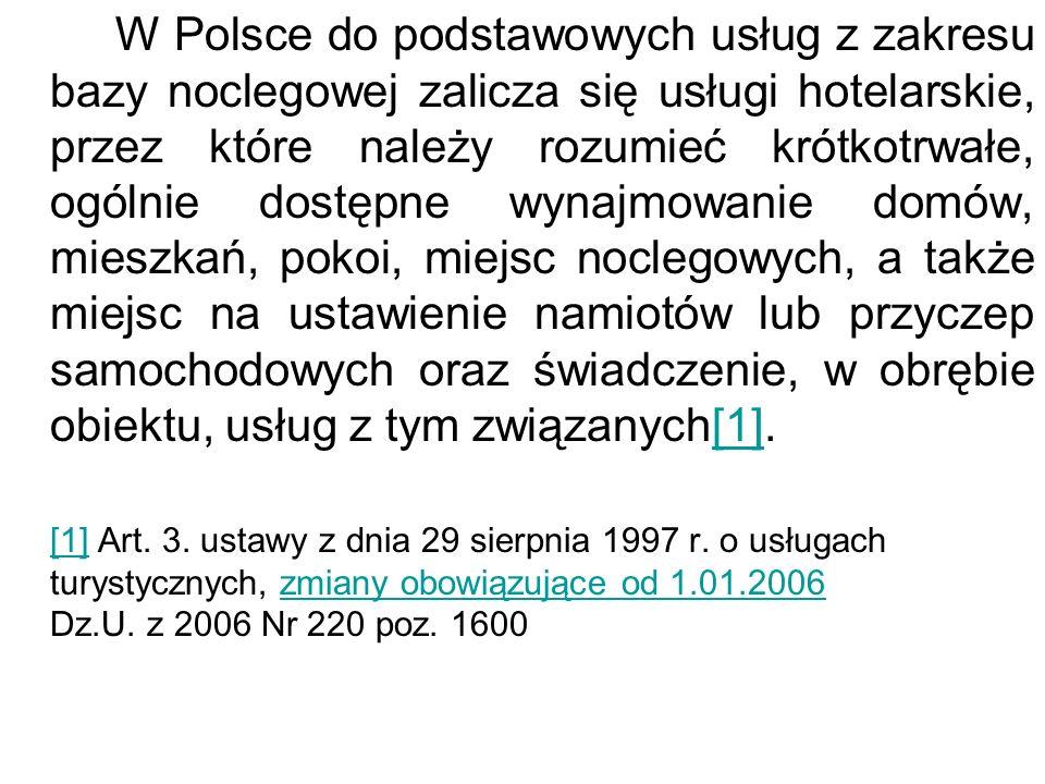 W Polsce do podstawowych usług z zakresu bazy noclegowej zalicza się usługi hotelarskie, przez które należy rozumieć krótkotrwałe, ogólnie dostępne wy