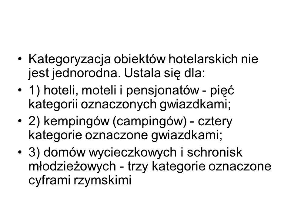 Kategoryzacja obiektów hotelarskich nie jest jednorodna. Ustala się dla: 1) hoteli, moteli i pensjonatów - pięć kategorii oznaczonych gwiazdkami; 2) k
