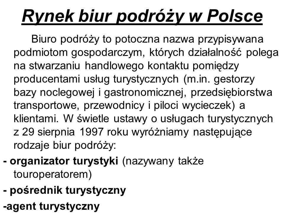 Rynek biur podróży w Polsce Biuro podróży to potoczna nazwa przypisywana podmiotom gospodarczym, których działalność polega na stwarzaniu handlowego k