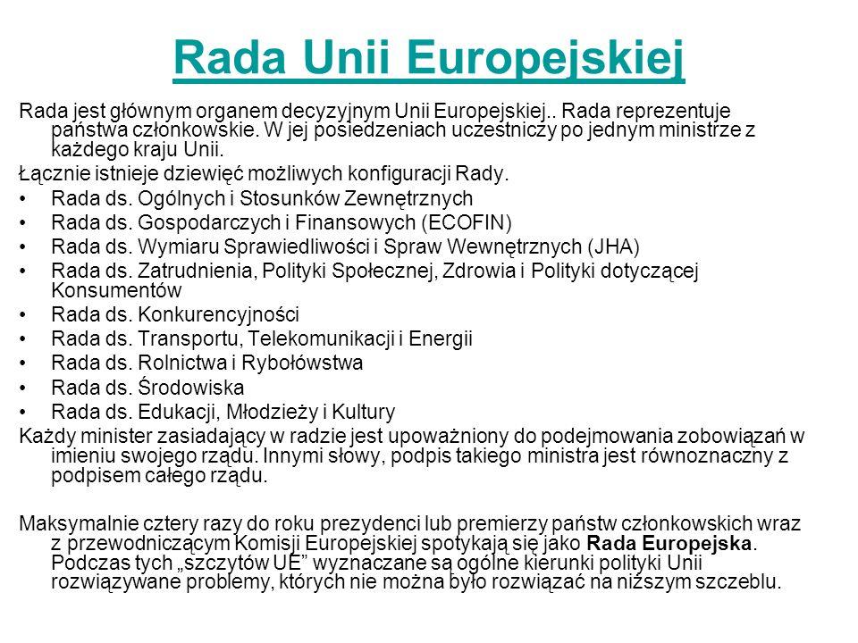 Rada Unii Europejskiej Rada jest głównym organem decyzyjnym Unii Europejskiej.. Rada reprezentuje państwa członkowskie. W jej posiedzeniach uczestnicz
