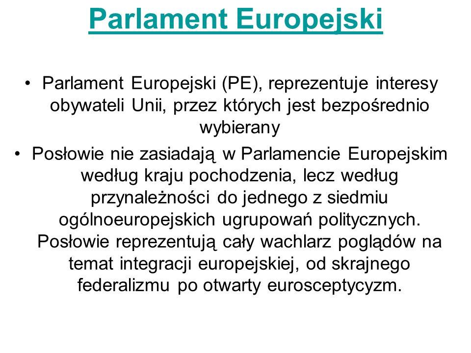 Parlament Europejski Parlament Europejski (PE), reprezentuje interesy obywateli Unii, przez których jest bezpośrednio wybierany Posłowie nie zasiadają