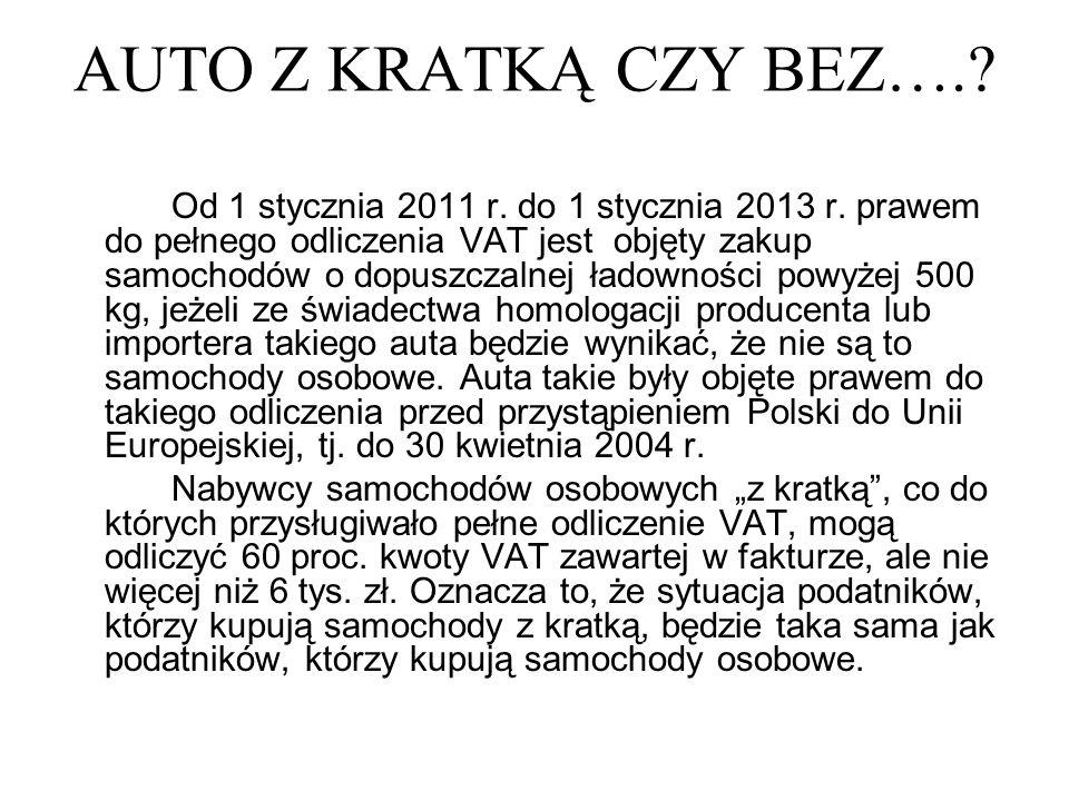 AUTO Z KRATKĄ CZY BEZ….? Od 1 stycznia 2011 r. do 1 stycznia 2013 r. prawem do pełnego odliczenia VAT jest objęty zakup samochodów o dopuszczalnej ład