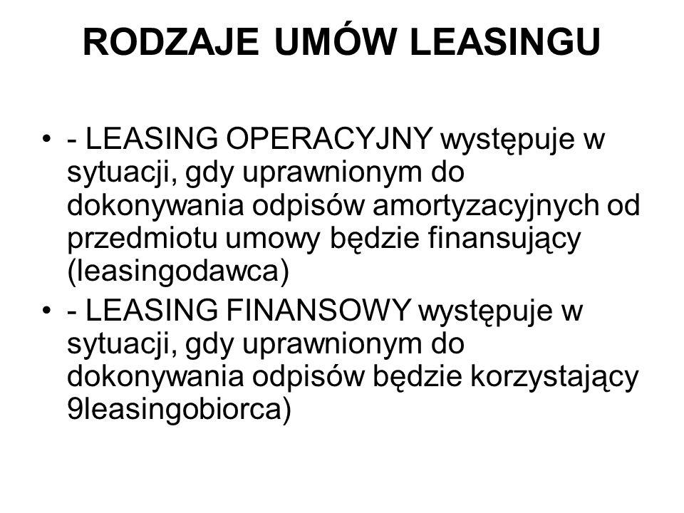 RODZAJE UMÓW LEASINGU - LEASING OPERACYJNY występuje w sytuacji, gdy uprawnionym do dokonywania odpisów amortyzacyjnych od przedmiotu umowy będzie fin