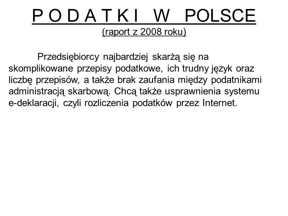 P O D A T K I W POLSCE (raport z 2008 roku) Przedsiębiorcy najbardziej skarżą się na skomplikowane przepisy podatkowe, ich trudny język oraz liczbę pr