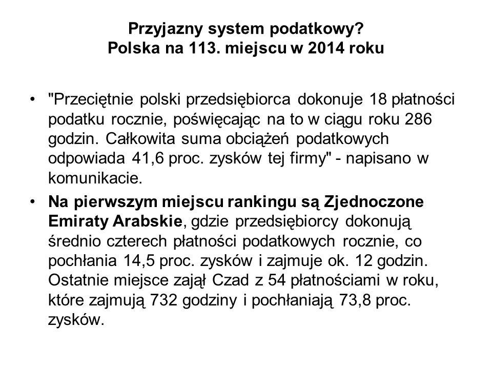 Przyjazny system podatkowy? Polska na 113. miejscu w 2014 roku