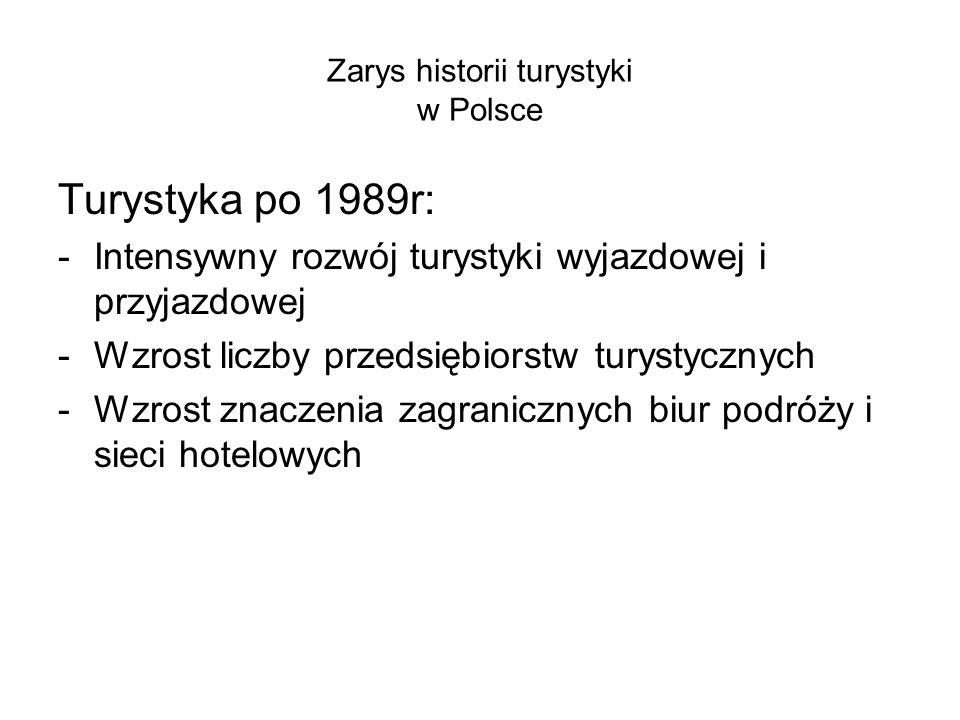 Zarys historii turystyki w Polsce Turystyka po 1989r: -Intensywny rozwój turystyki wyjazdowej i przyjazdowej -Wzrost liczby przedsiębiorstw turystyczn