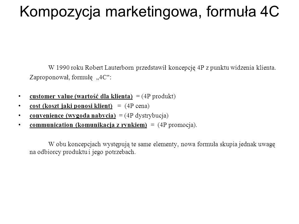"""Kompozycja marketingowa, formuła 4C W 1990 roku Robert Lauterborn przedstawił koncepcję 4P z punktu widzenia klienta. Zaproponował, formułę """"4C"""