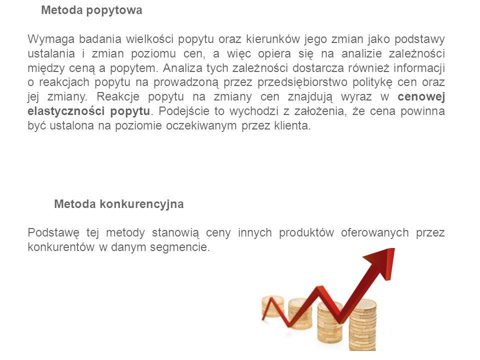 Metoda popytowa Wymaga badania wielkości popytu oraz kierunków jego zmian jako podstawy ustalania i zmian poziomu cen, a więc opiera się na analizie z