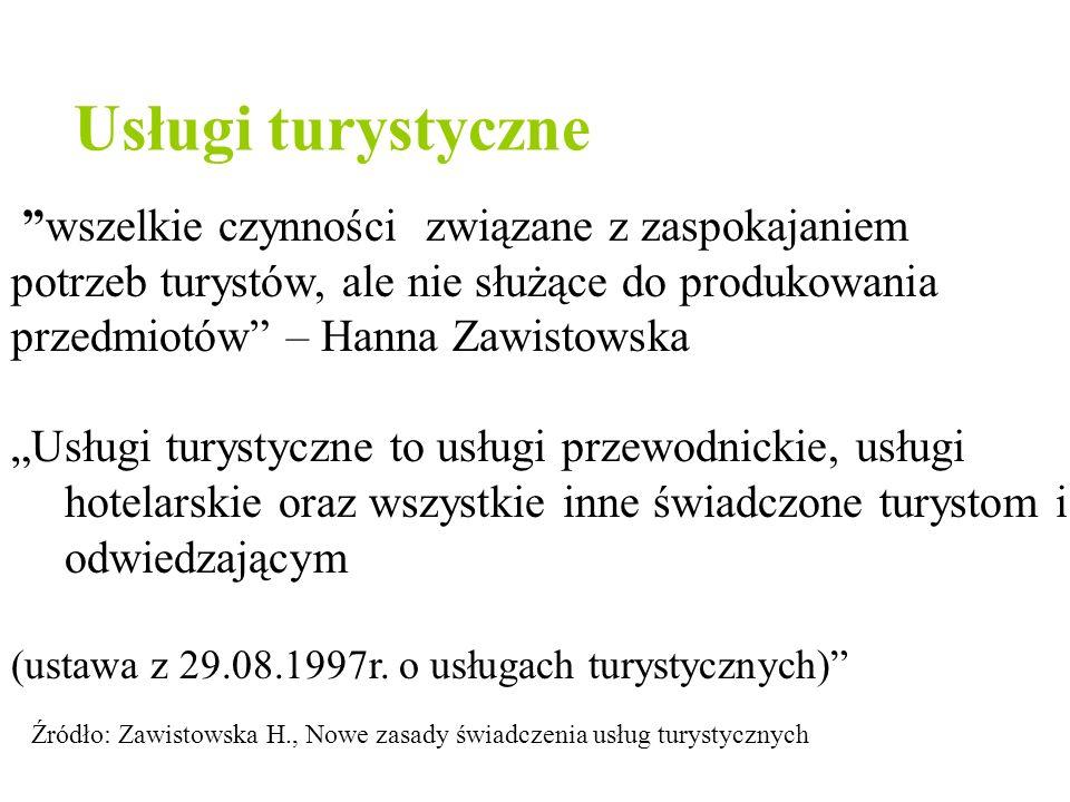 """Usługi turystyczne """"wszelkie czynności związane z zaspokajaniem potrzeb turystów, ale nie służące do produkowania przedmiotów"""" – Hanna Zawistowska """"Us"""