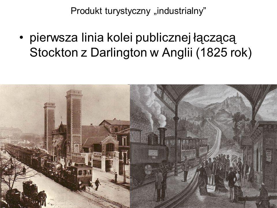 """Produkt turystyczny """"industrialny"""" pierwsza linia kolei publicznej łączącą Stockton z Darlington w Anglii (1825 rok)"""