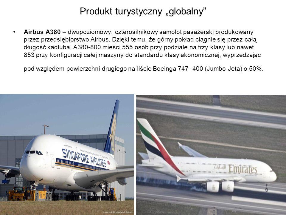 """Produkt turystyczny """"globalny"""" Airbus A380 – dwupoziomowy, czterosilnikowy samolot pasażerski produkowany przez przedsiębiorstwo Airbus. Dzięki temu,"""