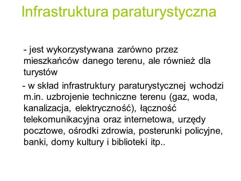 Infrastruktura paraturystyczna - jest wykorzystywana zarówno przez mieszkańców danego terenu, ale również dla turystów - w skład infrastruktury paratu