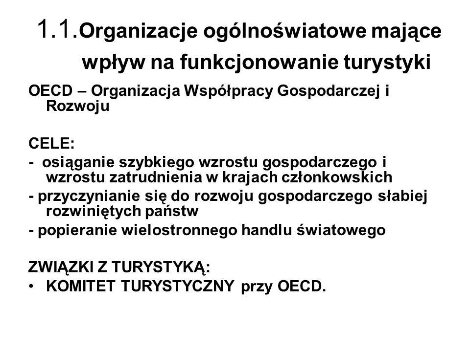 1.1. Organizacje ogólnoświatowe mające wpływ na funkcjonowanie turystyki OECD – Organizacja Współpracy Gospodarczej i Rozwoju CELE: - osiąganie szybki